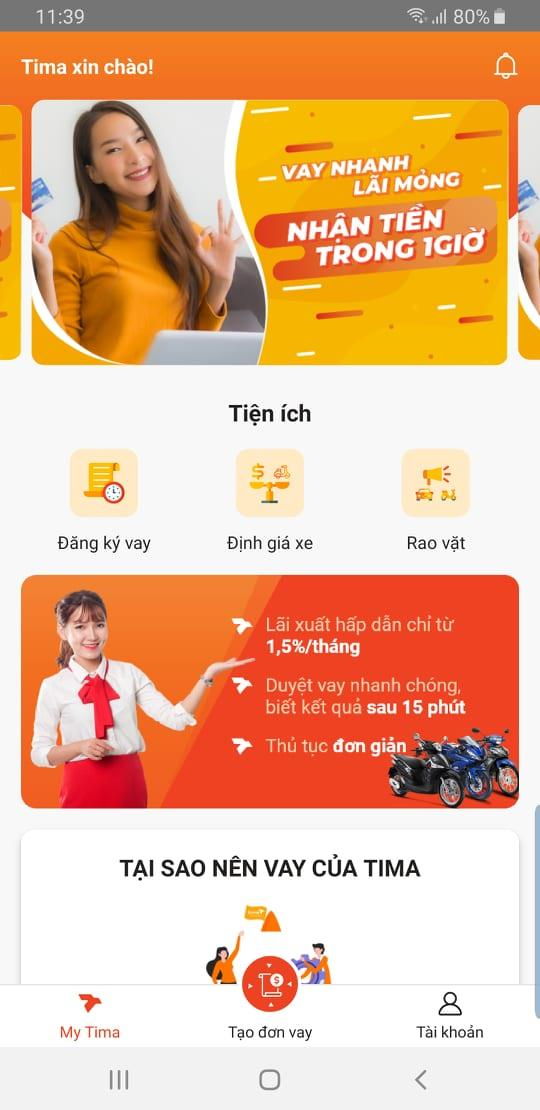 Giao điện app My Tima