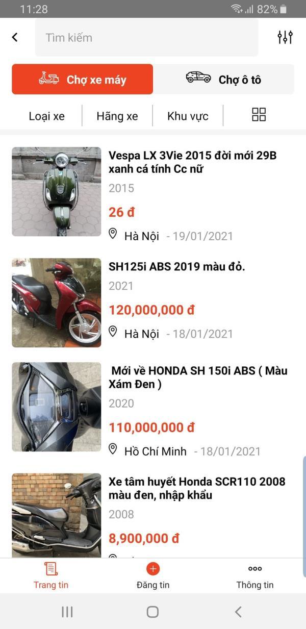 Chợ xe máy trên My Tima